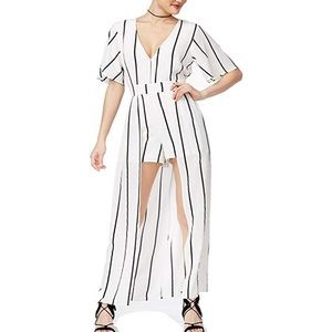 Crystal Doll Striped Overlay Romper